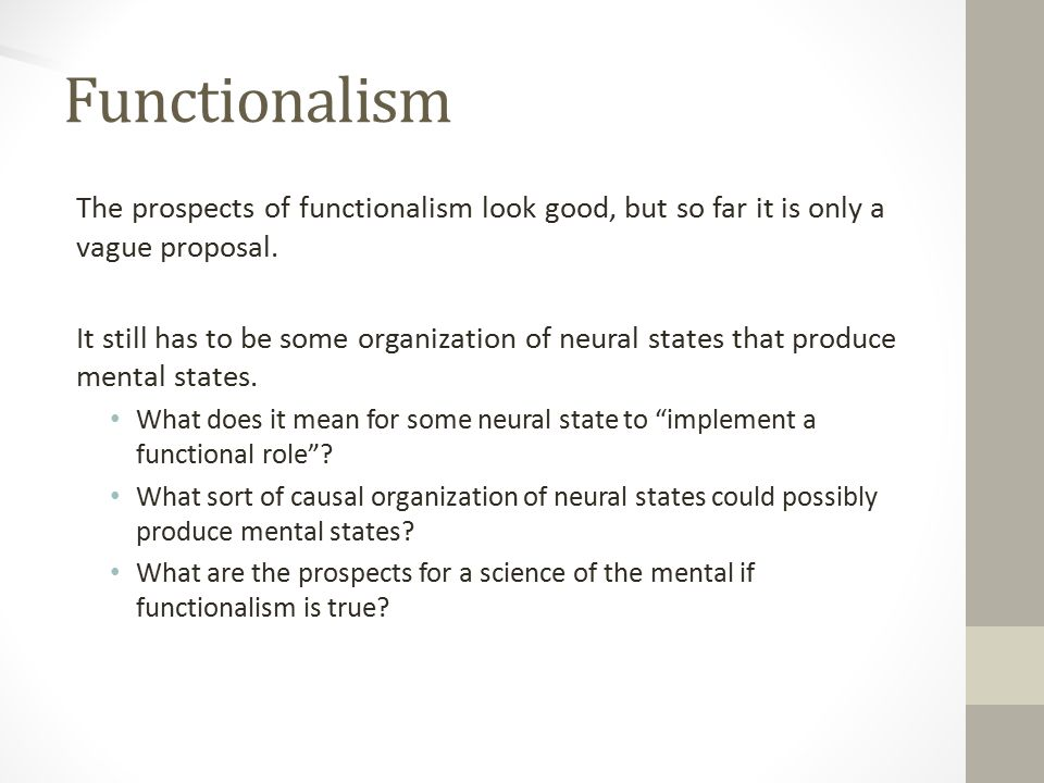 Functionalism The prospects of functionalism look good, but so far it is only a vague proposal.