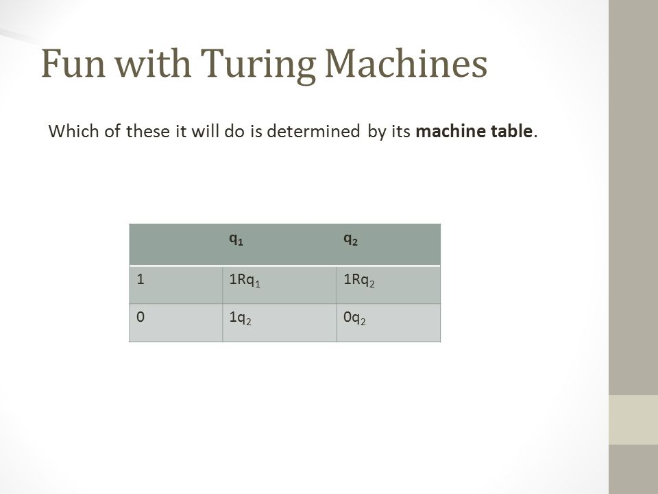 Fun with Turing Machines Which of these it will do is determined by its machine table.