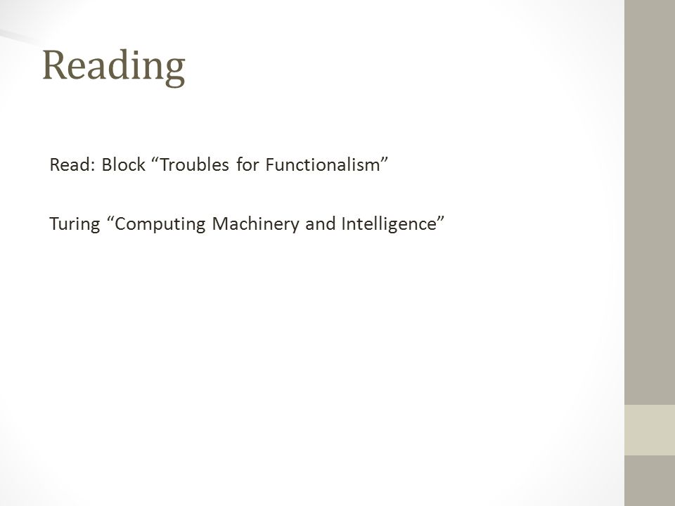 Reading Read: Block Troubles for Functionalism Turing Computing Machinery and Intelligence