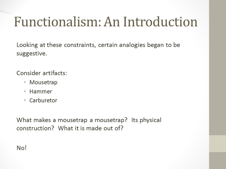 Functionalism: An Introduction Looking at these constraints, certain analogies began to be suggestive.