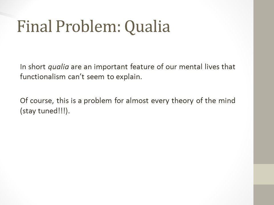 Final Problem: Qualia In short qualia are an important feature of our mental lives that functionalism can't seem to explain.