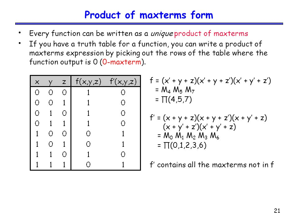 21 Product of maxterms form Every function can be written as a unique product of maxterms If you have a truth table for a function, you can write a product of maxterms expression by picking out the rows of the table where the function output is 0 (0-maxterm).