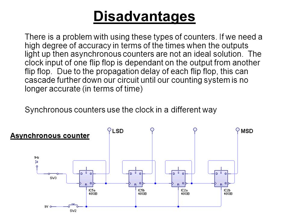 Disadvantages There is a problem with using these types of counters.