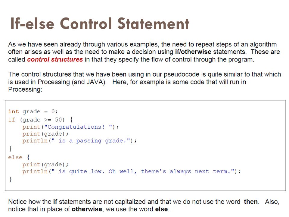 If-else Control Statement