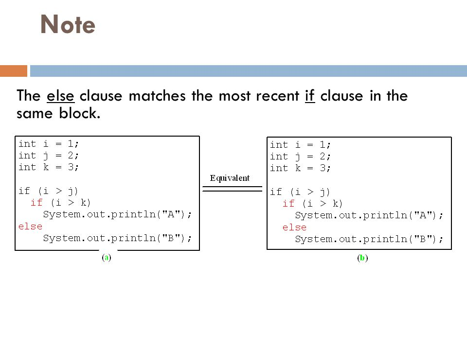 Note The else clause matches the most recent if clause in the same block.