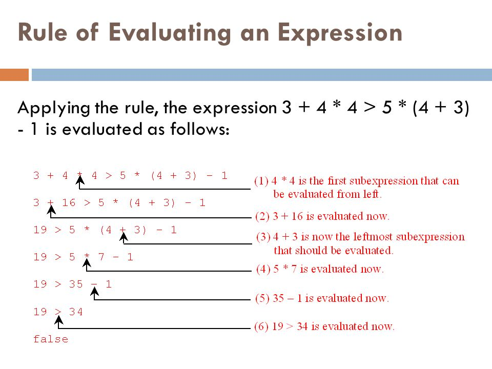 Rule of Evaluating an Expression Applying the rule, the expression * 4 > 5 * (4 + 3) - 1 is evaluated as follows: