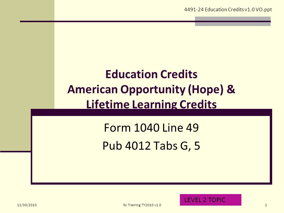 Education Credits American Opportunity (Hope) & Lifetime Learning ...
