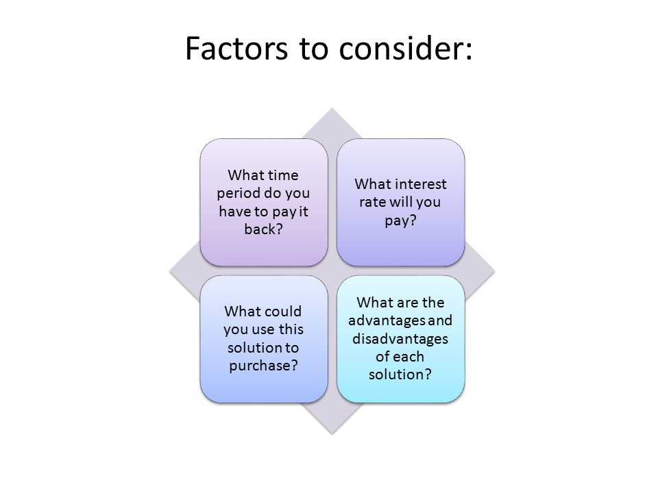 Factors to consider: What time period do you have to pay it back.