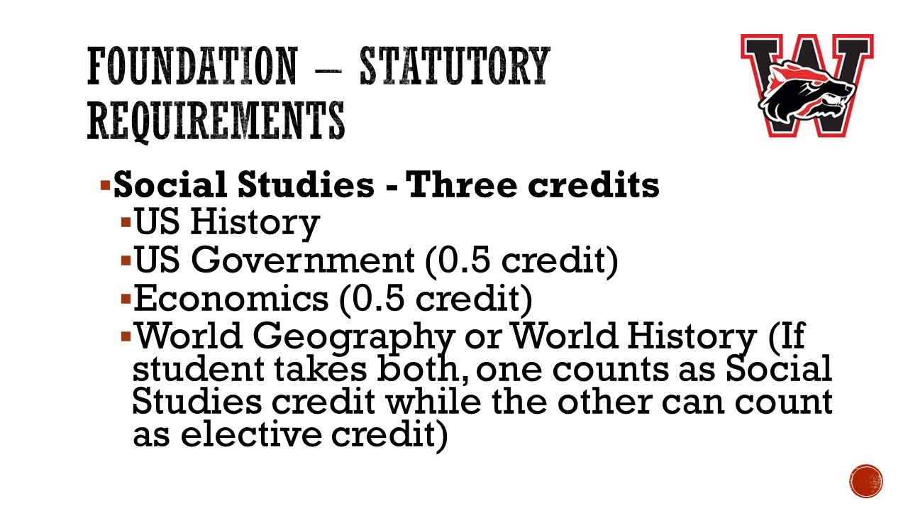  Social Studies - Three credits  US History  US Government (0.5 credit)  Economics (0.5 credit)  World Geography or World History (If student takes both, one counts as Social Studies credit while the other can count as elective credit)