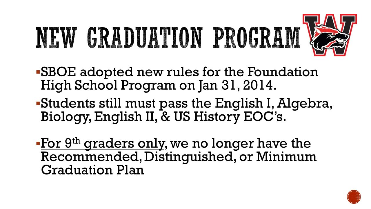  SBOE adopted new rules for the Foundation High School Program on Jan 31, 2014.