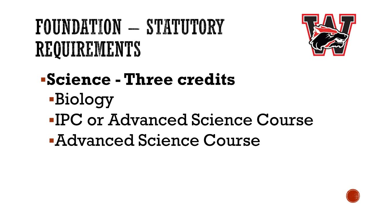  Science - Three credits  Biology  IPC or Advanced Science Course  Advanced Science Course