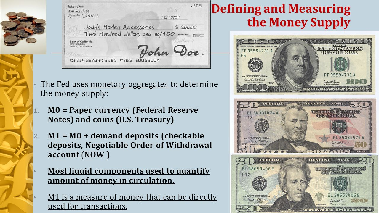 Defining and Measuring the Money Supply The Fed uses monetary aggregates to determine the money supply: 1.