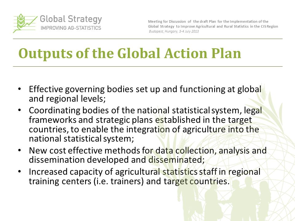Outputs of the Global Action Plan Effective governing bodies set up and functioning at global and regional levels; Coordinating bodies of the national statistical system, legal frameworks and strategic plans established in the target countries, to enable the integration of agriculture into the national statistical system; New cost effective methods for data collection, analysis and dissemination developed and disseminated; Increased capacity of agricultural statistics staff in regional training centers (i.e.