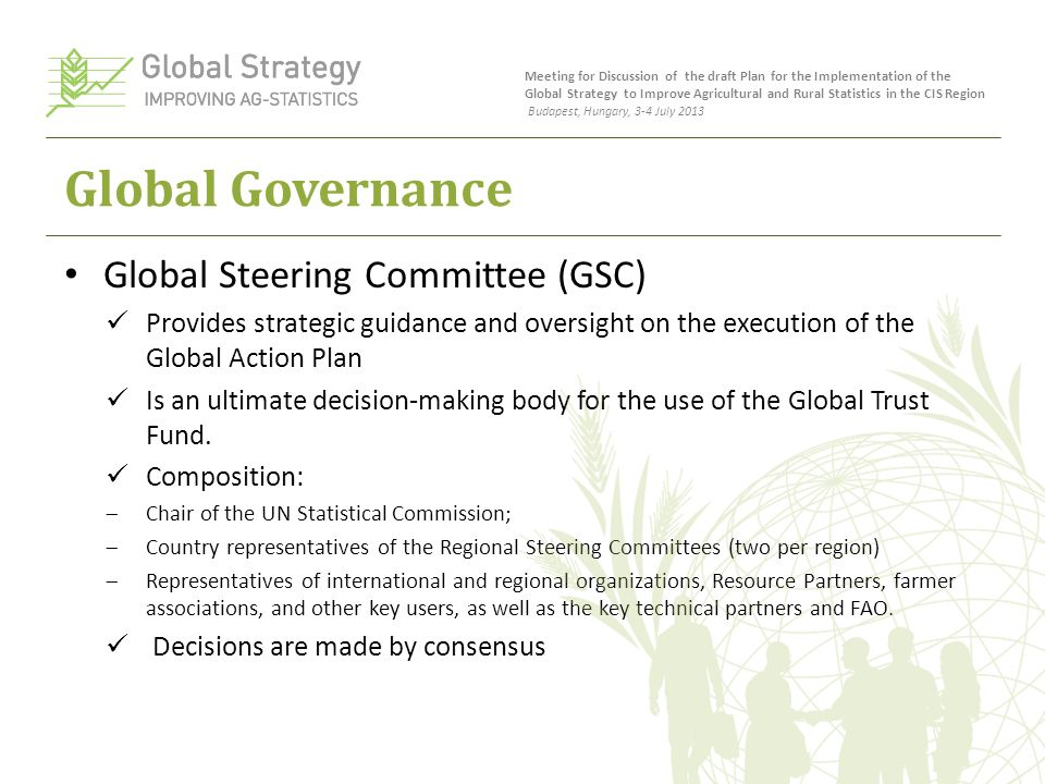 Global Governance Global Steering Committee (GSC) Provides strategic guidance and oversight on the execution of the Global Action Plan Is an ultimate decision-making body for the use of the Global Trust Fund.