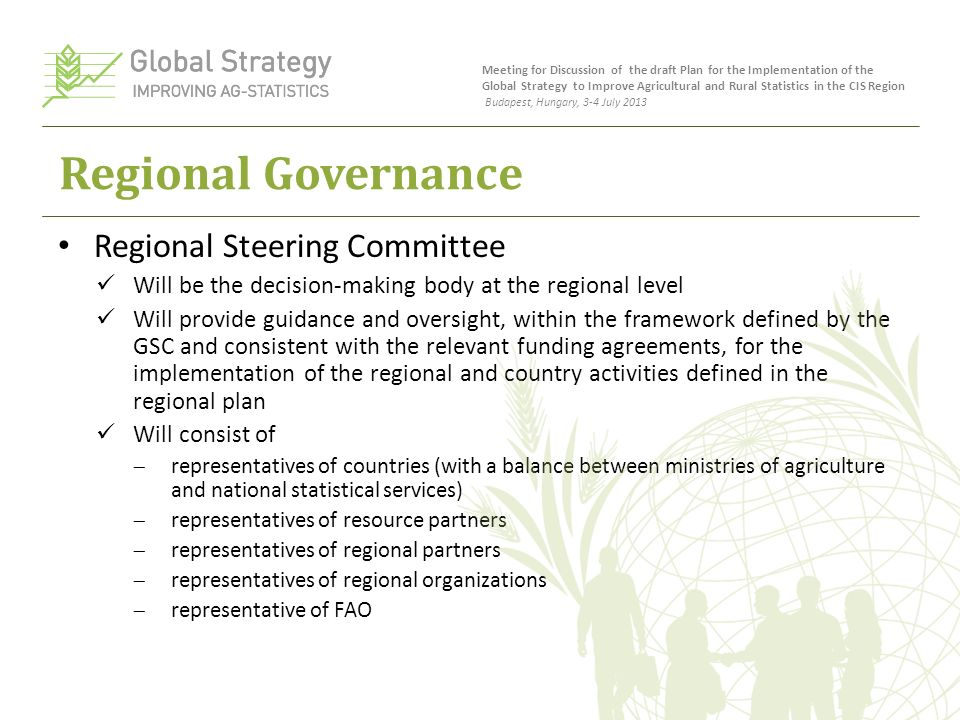 Regional Governance Regional Steering Committee Will be the decision-making body at the regional level Will provide guidance and oversight, within the framework defined by the GSC and consistent with the relevant funding agreements, for the implementation of the regional and country activities defined in the regional plan Will consist of  representatives of countries (with a balance between ministries of agriculture and national statistical services)  representatives of resource partners  representatives of regional partners  representatives of regional organizations  representative of FAO Meeting for Discussion of the draft Plan for the Implementation of the Global Strategy to Improve Agricultural and Rural Statistics in the CIS Region Budapest, Hungary, 3-4 July 2013