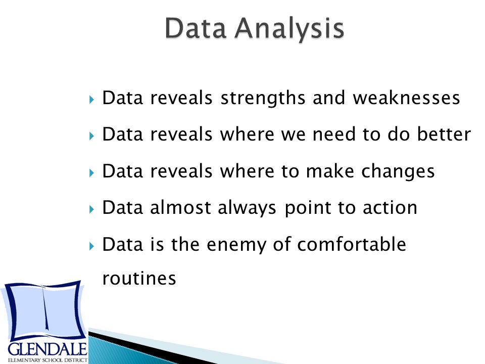  Data reveals strengths and weaknesses  Data reveals where we need to do better  Data reveals where to make changes  Data almost always point to action  Data is the enemy of comfortable routines