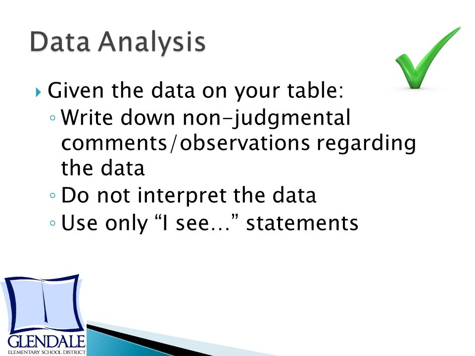  Given the data on your table: ◦ Write down non-judgmental comments/observations regarding the data ◦ Do not interpret the data ◦ Use only I see… statements