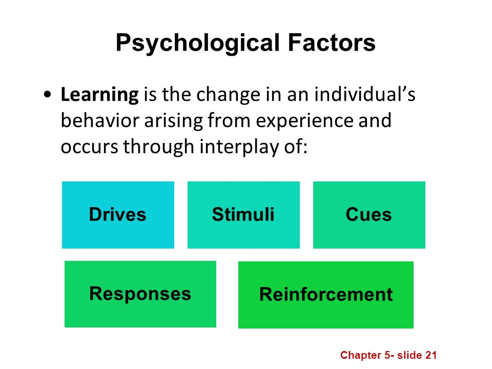 Chapter 5- slide 21 Psychological Factors Learning is the change in an individual's behavior arising from experience and occurs through interplay of: DrivesStimuliCues Responses Reinforcement