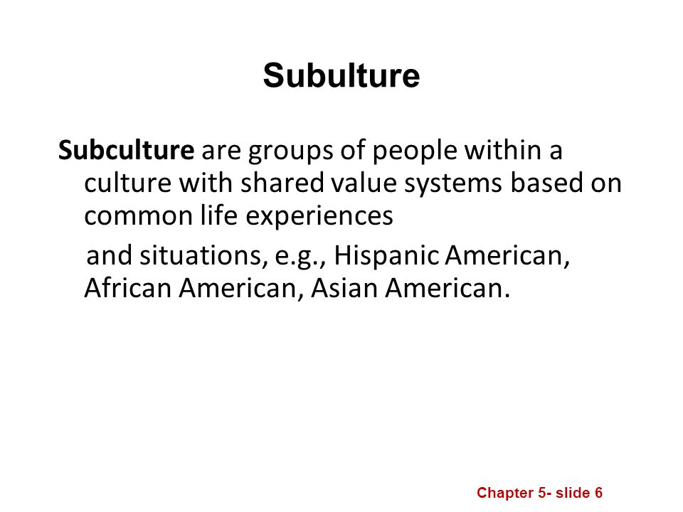 Chapter 5- slide 6 Subculture are groups of people within a culture with shared value systems based on common life experiences and situations, e.g., Hispanic American, African American, Asian American.