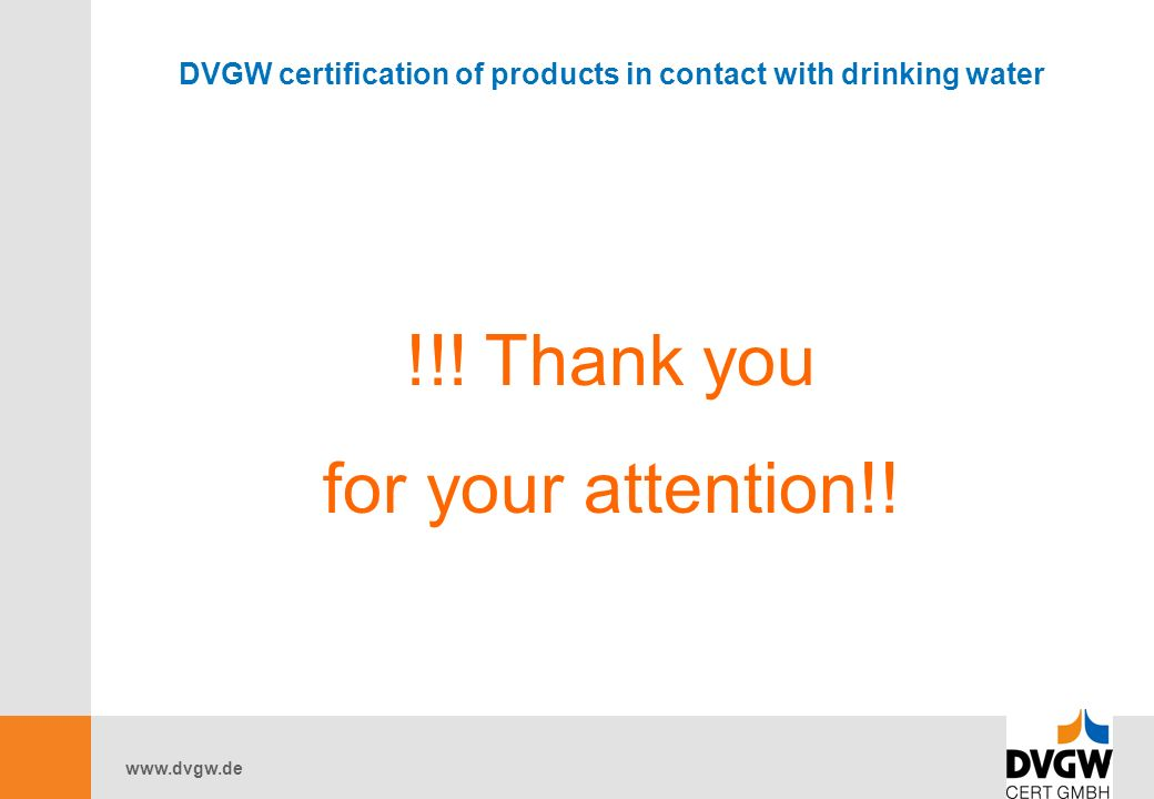 DVGW certification of products in contact with drinking water !!.