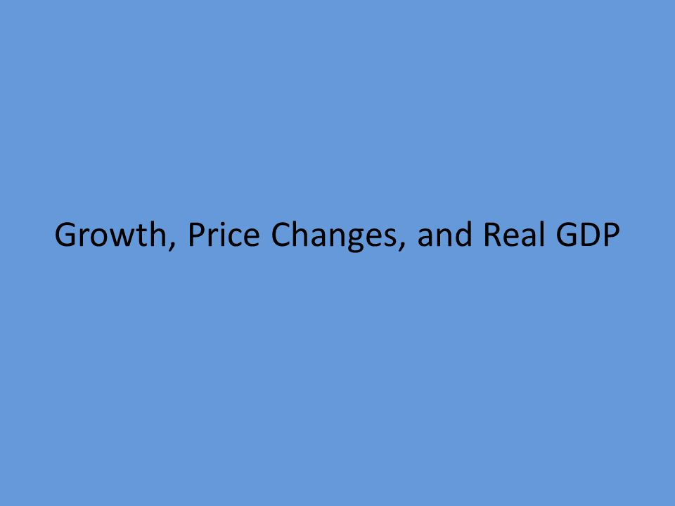 Growth, Price Changes, and Real GDP