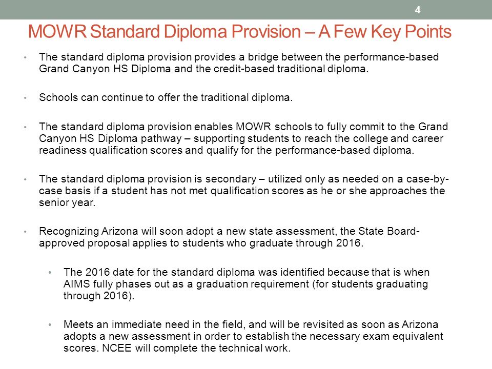 move on when ready standard diploma provision ppt  mowr standard diploma provision a few key points the standard diploma provision provides a bridge