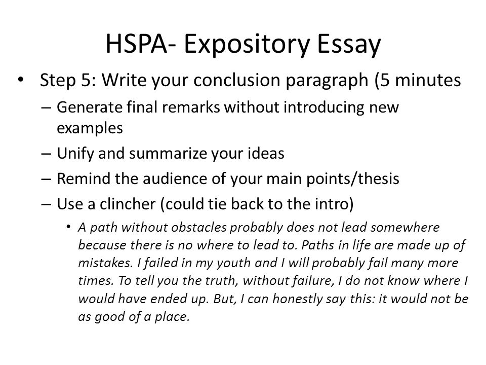 hspa expository essay you will be asked to write at least a  hspa expository essay step 5 write your conclusion paragraph 5 minutes generate