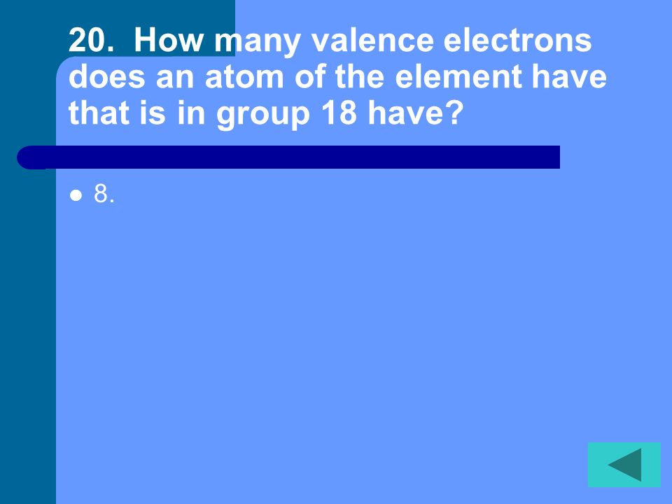 19. Elements in the same ___ share similar properties. Group or family