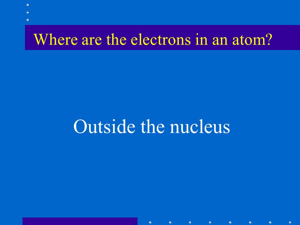 Where are the electrons in an atom Outside the nucleus
