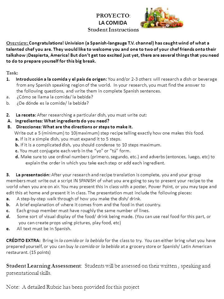 Proyecto la comida student instructions overview congratulations 1 proyecto solutioingenieria Image collections