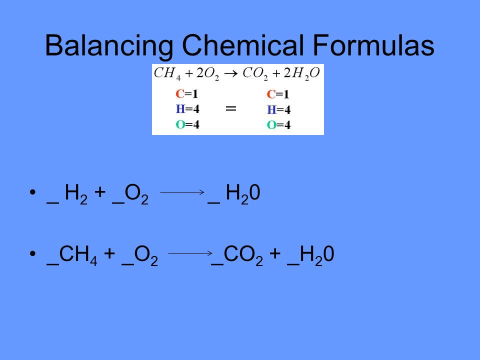Balancing Chemical Formulas _ H 2 + _O 2 _ H 2 0 _CH 4 + _O 2 _CO 2 + _H 2 0
