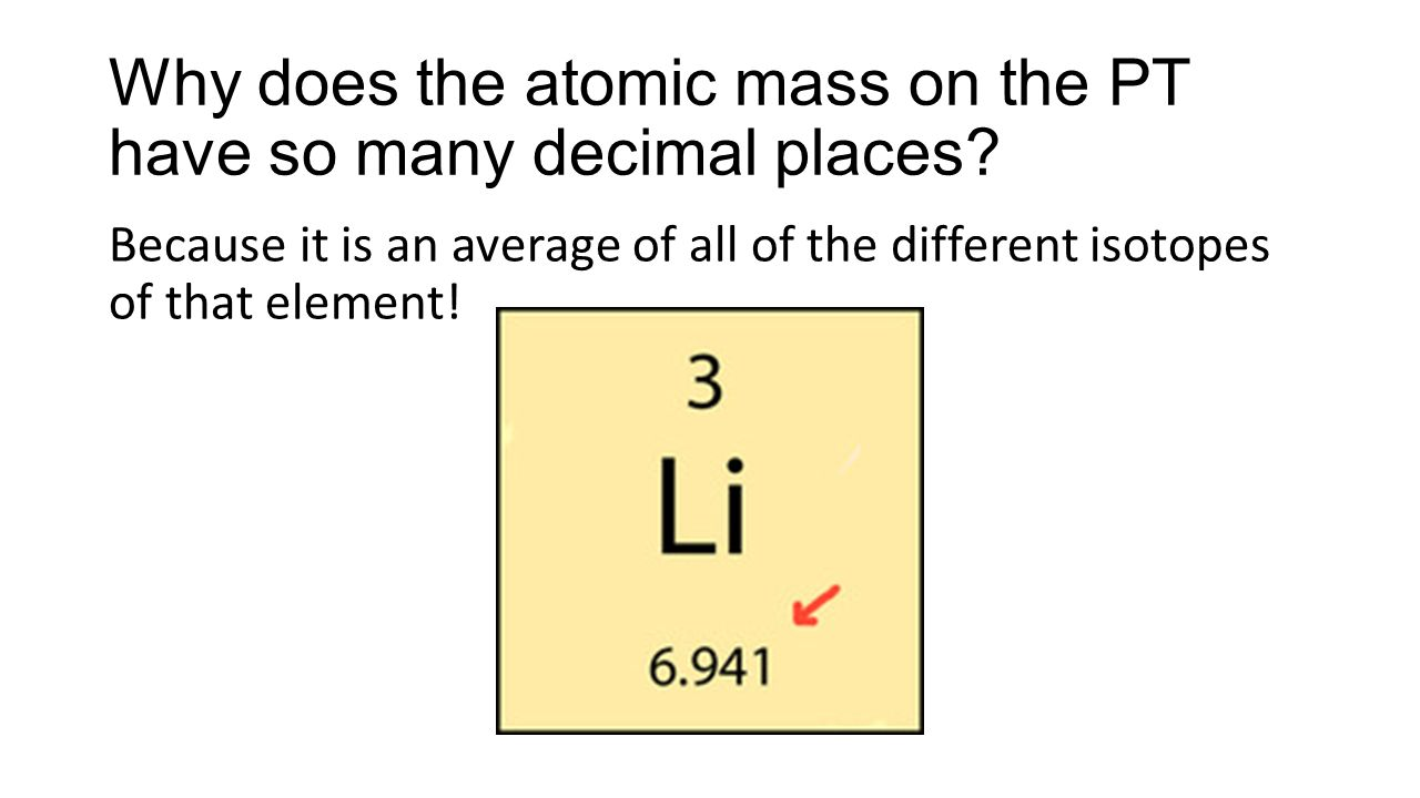 Isotopes if you change the number ofit will affect theand the why does the atomic mass on the pt have so many decimal places urtaz Gallery