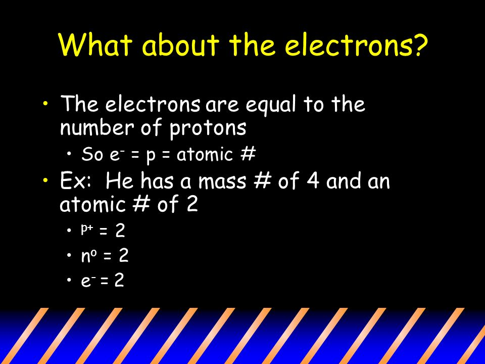 What about the electrons.