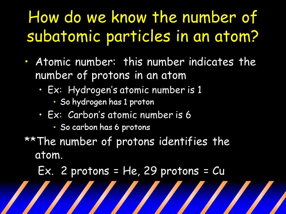 How do we know the number of subatomic particles in an atom.