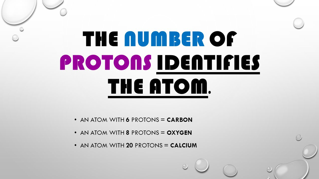 THE NUMBER OF PROTONS IDENTIFIES THE ATOM.