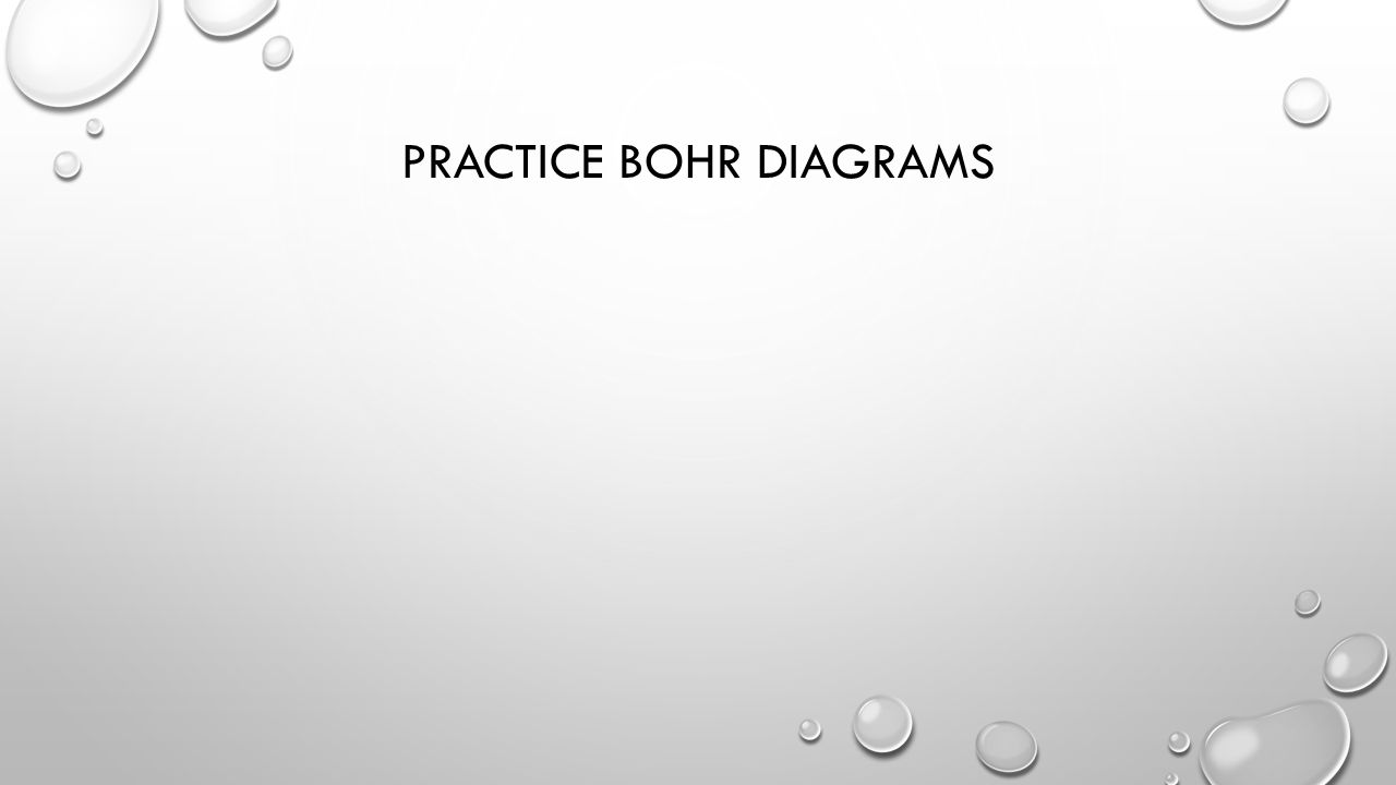PRACTICE BOHR DIAGRAMS