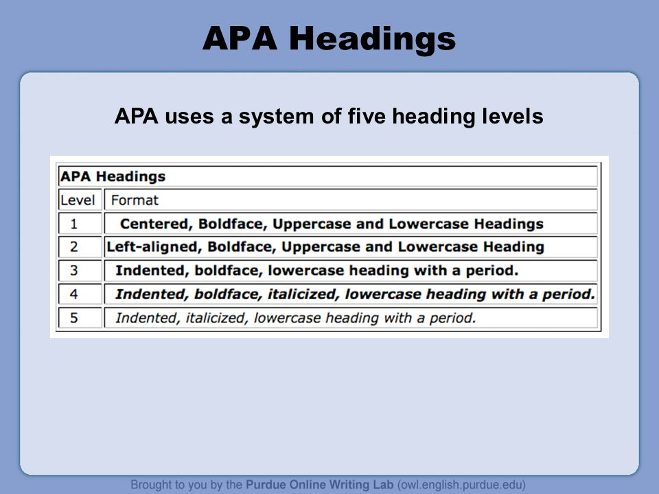 APA Headings APA uses a system of five heading levels