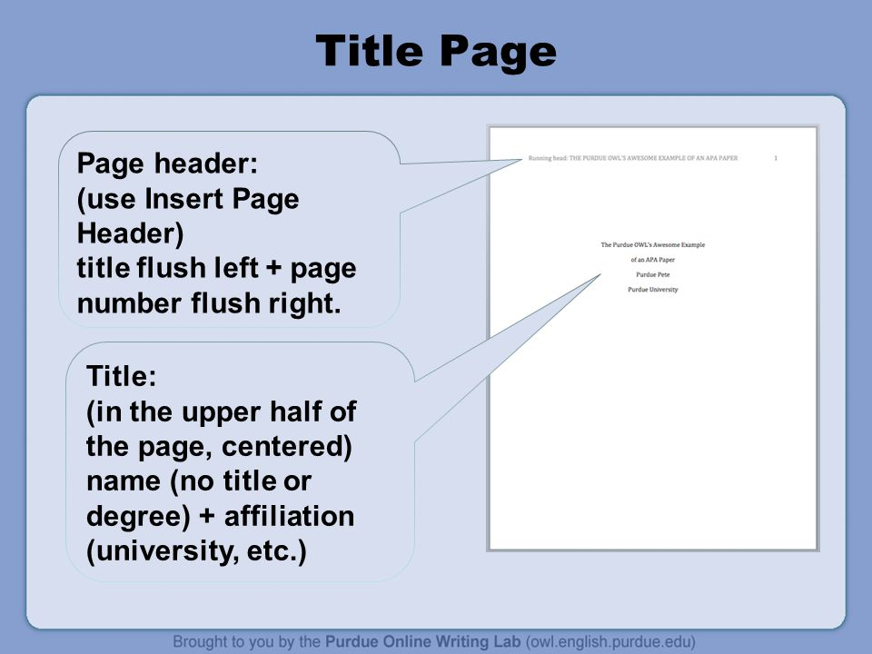 Title Page Page header: (use Insert Page Header) title flush left + page number flush right.