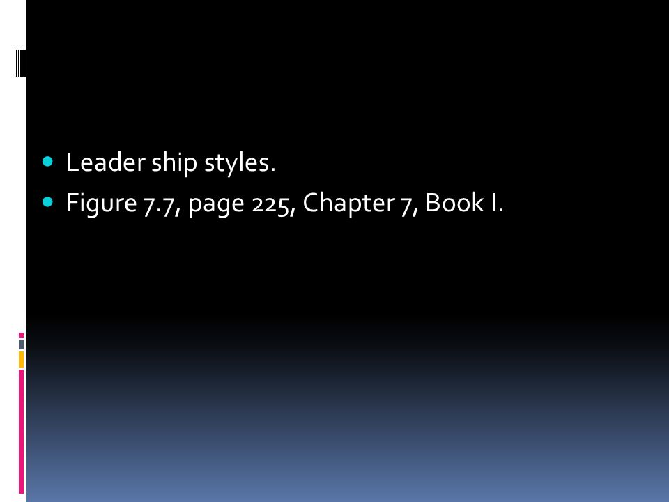 Leader ship styles. Figure 7.7, page 225, Chapter 7, Book I.