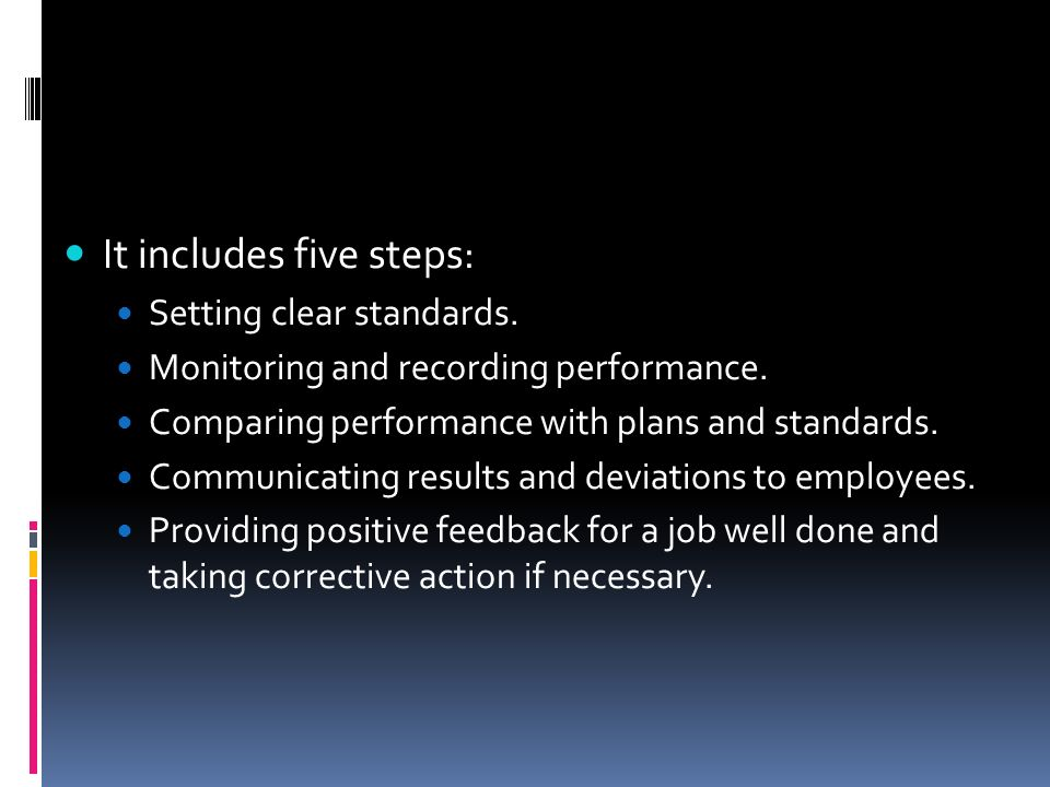 It includes five steps: Setting clear standards. Monitoring and recording performance. Comparing performance with plans and standards. Communicating r