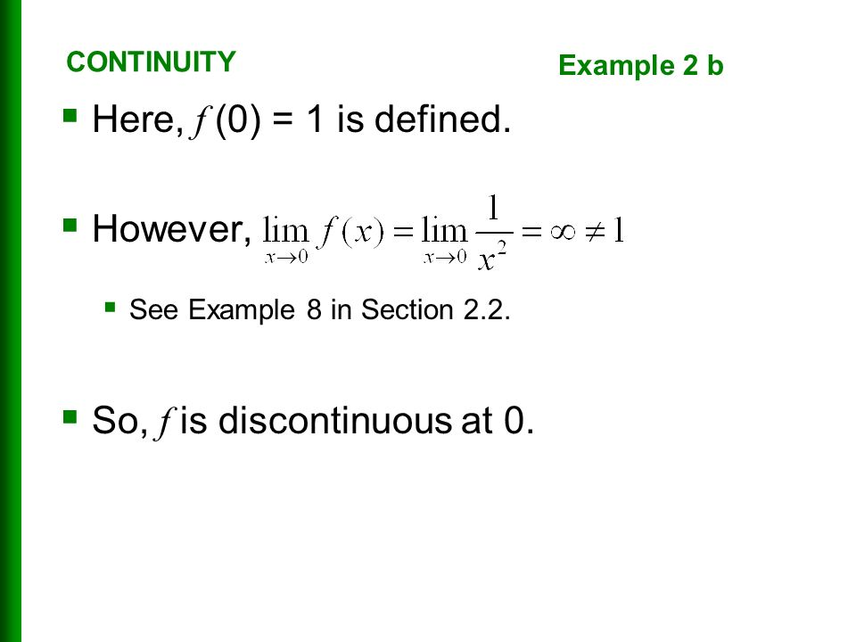  Here, f (0) = 1 is defined.  However,  See Example 8 in Section 2.2.
