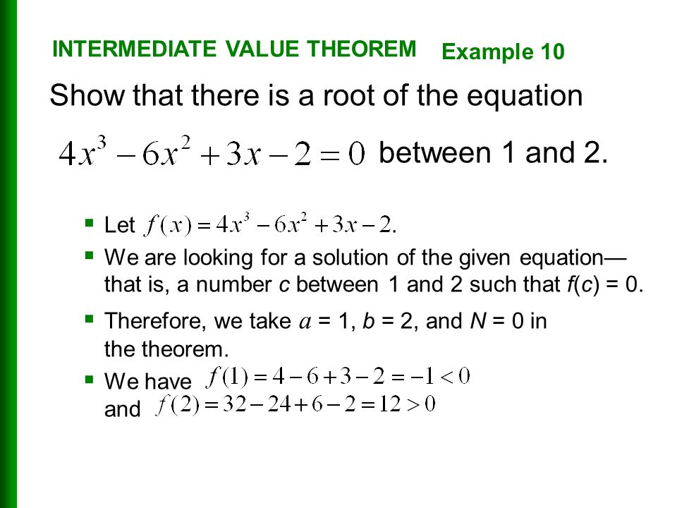 Show that there is a root of the equation between 1 and 2.