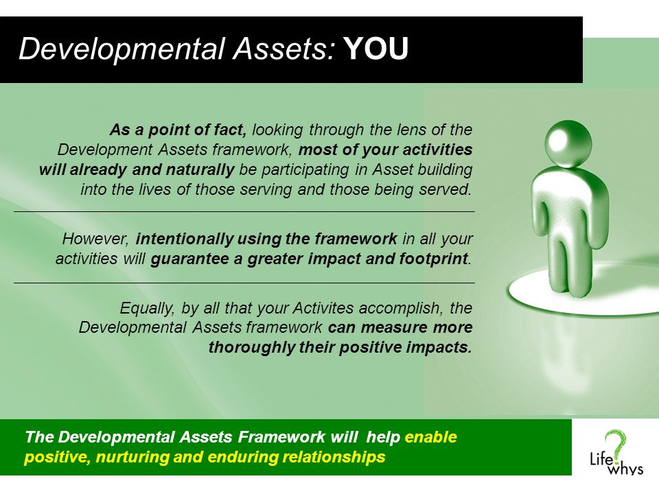 Developmental Assets: YOU As a point of fact, looking through the lens of the Development Assets framework, most of your activities will already and naturally be participating in Asset building into the lives of those serving and those being served.