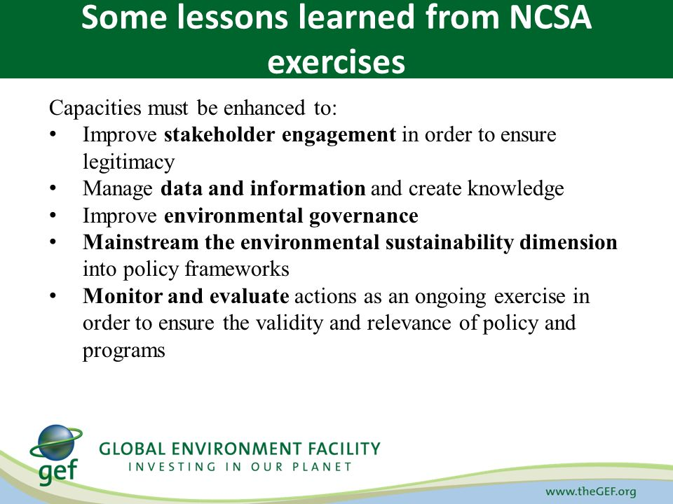 Capacities must be enhanced to: Improve stakeholder engagement in order to ensure legitimacy Manage data and information and create knowledge Improve environmental governance Mainstream the environmental sustainability dimension into policy frameworks Monitor and evaluate actions as an ongoing exercise in order to ensure the validity and relevance of policy and programs Some lessons learned from NCSA exercises
