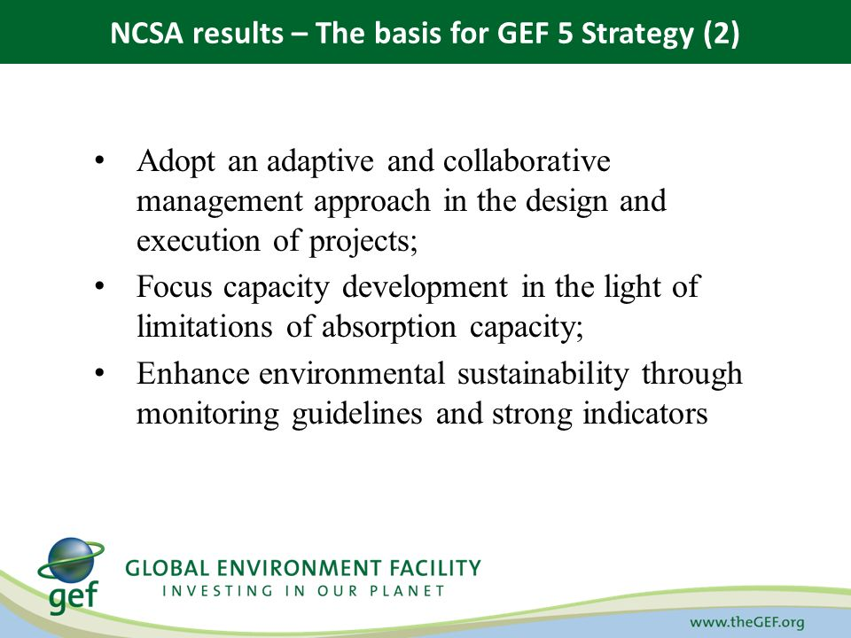 Adopt an adaptive and collaborative management approach in the design and execution of projects; Focus capacity development in the light of limitations of absorption capacity; Enhance environmental sustainability through monitoring guidelines and strong indicators NCSA results – The basis for GEF 5 Strategy (2)