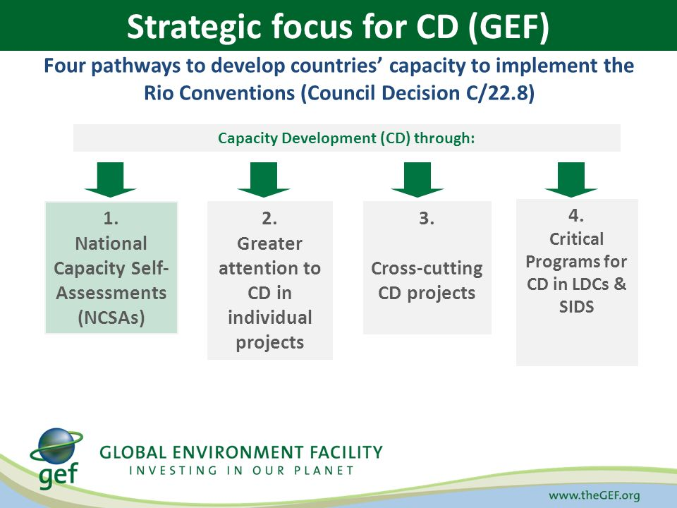 GEF STRATEGIC APPROACH TO CAPACITY BUILDING Four pathways to develop countries' capacity to implement the Rio Conventions (Council Decision C/22.8) Capacity Development (CD) through: 1.