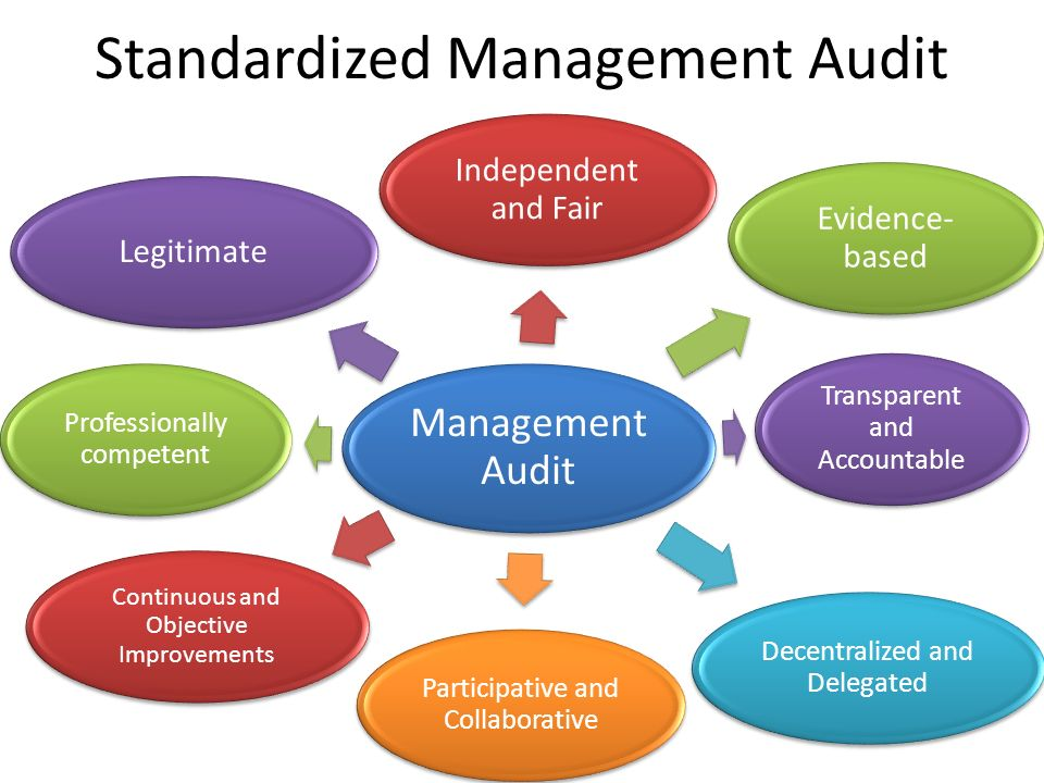Standardized Management Audit Management Audit Independent and Fair Evidence- based Transparent and Accountable Decentralized and Delegated Participative and Collaborative Continuous and Objective Improvements Professionally competent Legitimate