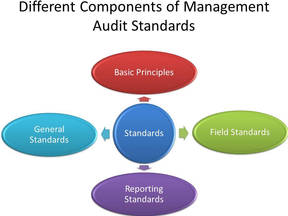 Different Components of Management Audit Standards Standards Basic PrinciplesField Standards Reporting Standards General Standards