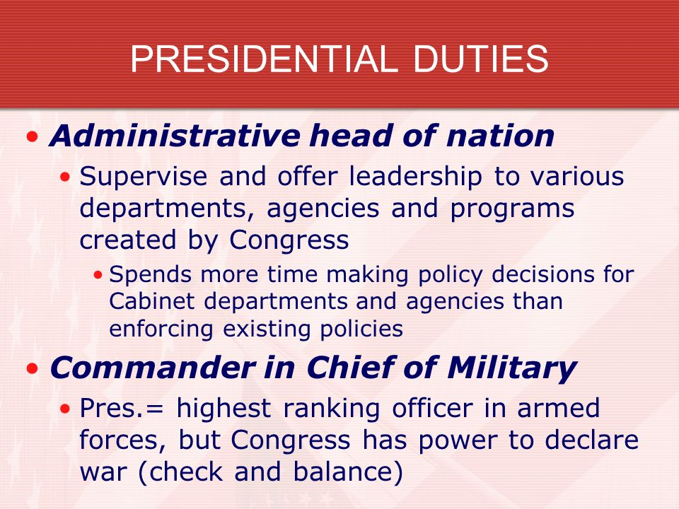THE PRESIDENCY OR, WHO REALLY RUNS THE SHOW???. CONSTITUTIONAL ...