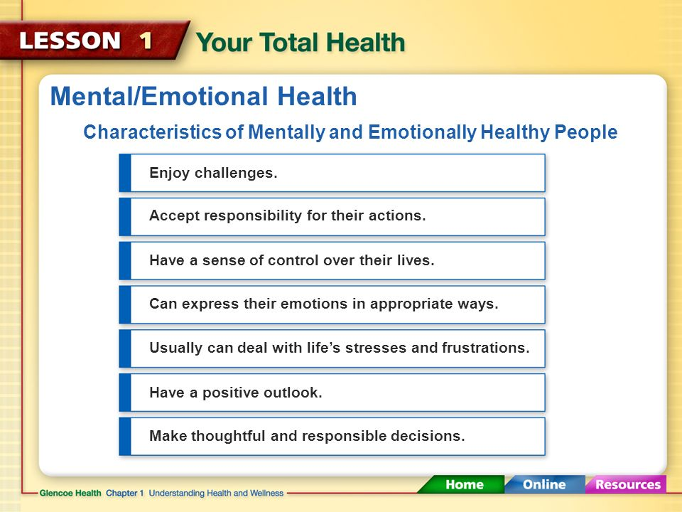 Mental/Emotional Health Mental/emotional health is about your feelings and thoughts.